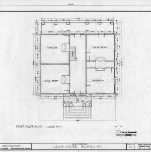 First floor plan, Lewis-Smith House, Raleigh, North Carolina