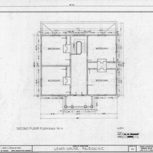 Second floor plan, Lewis-Smith House, Raleigh, North Carolina