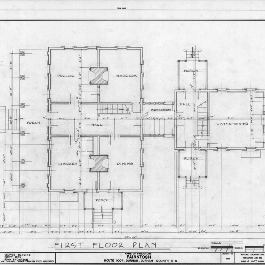 First floor plan, Fairntosh, Durham, North Carolina