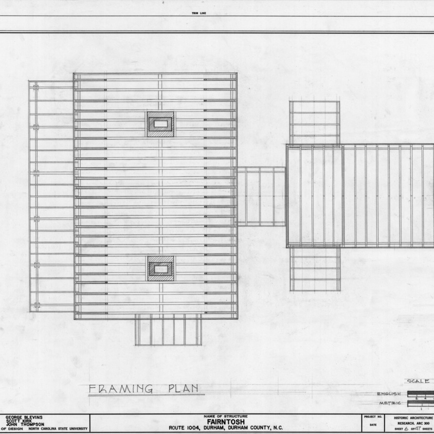 Framing plan, Fairntosh, Durham, North Carolina