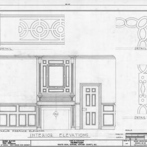 Parlor elevation and trim details, Fairntosh, Durham, North Carolina
