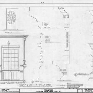 Partial library elevation and trim details, Fairntosh, Durham, North Carolina