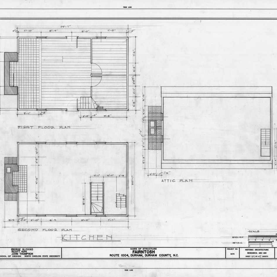 Kitchen plans, Fairntosh, Durham, North Carolina