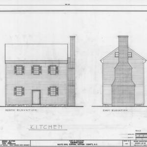 North and east elevations of kitchen, Fairntosh, Durham, North Carolina