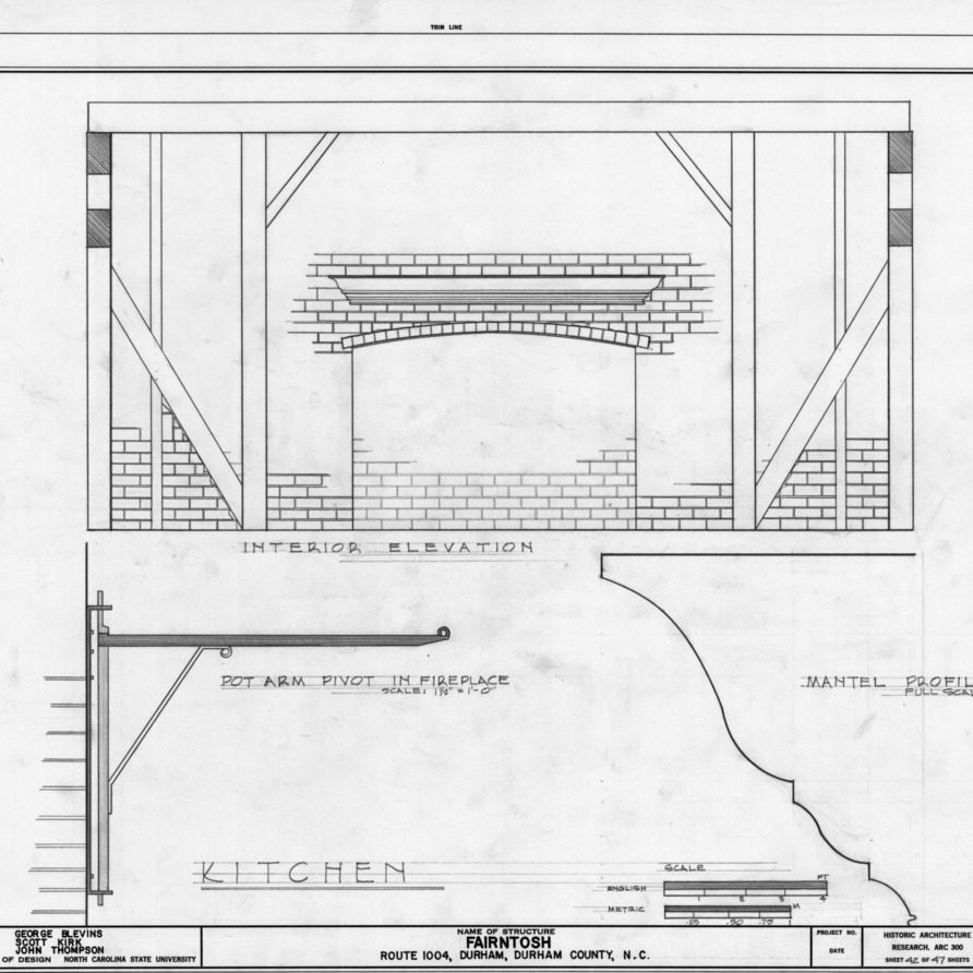 Interior elevation and details of kitchen, Fairntosh, Durham, North Carolina