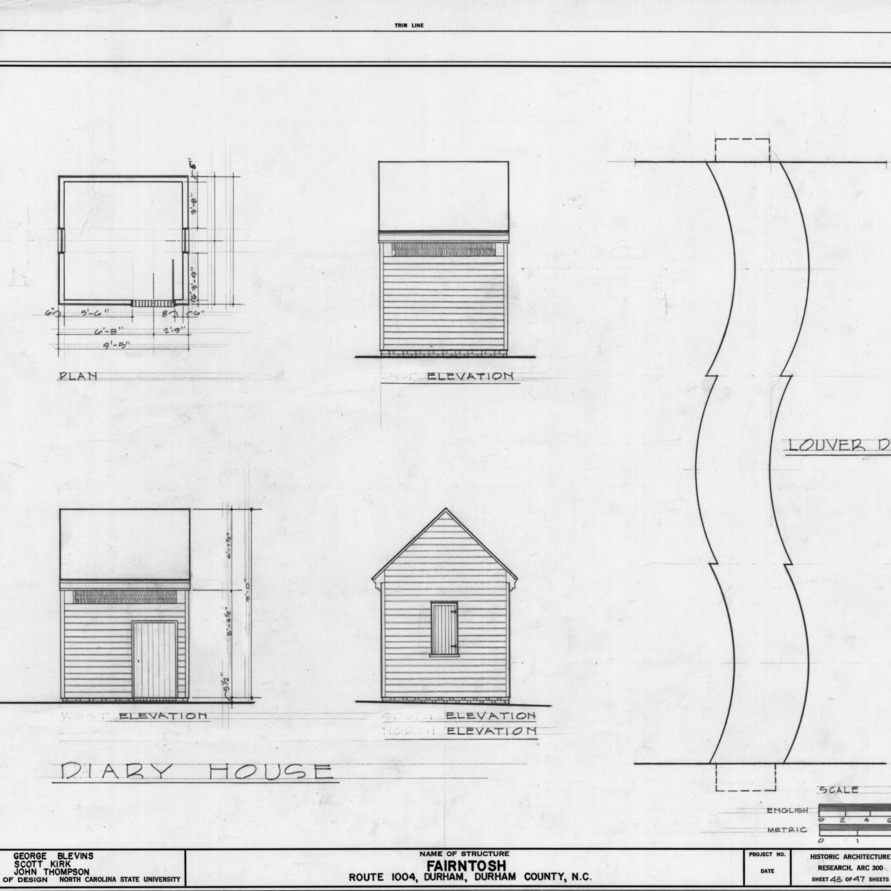 Dairy plan, elevations, and detail, Fairntosh, Durham, North Carolina
