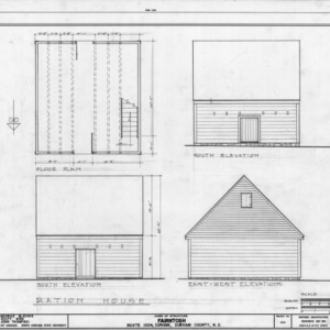 Ration house plan and elevations, Fairntosh, Durham, North Carolina