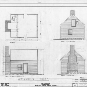 Weaving house plan and elevations, Fairntosh, Durham, North Carolina