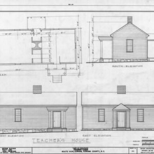 Teacher's house plan and elevations, Fairntosh, Durham, North Carolina