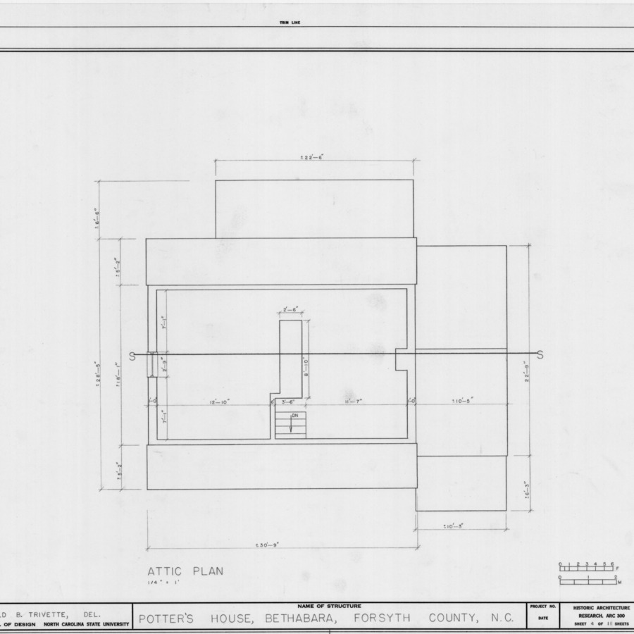 Attic plan, Schaub-Krause House, Winston-Salem, North Carolina