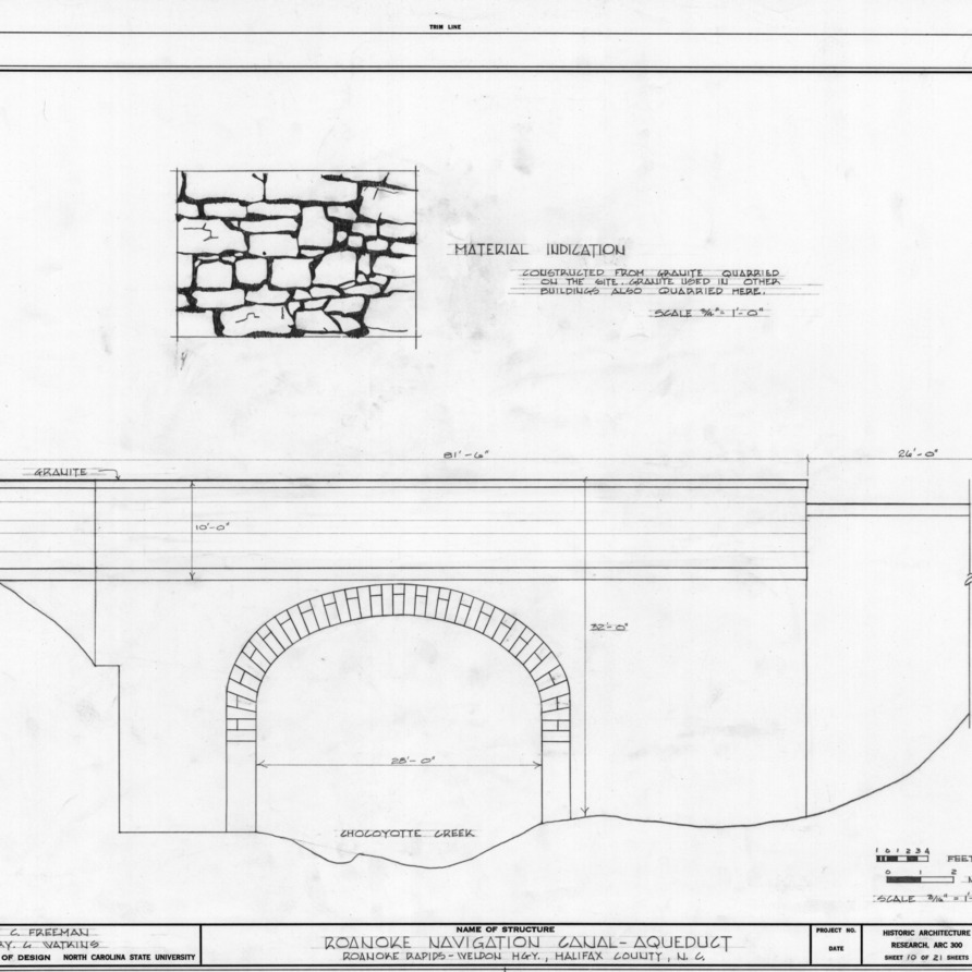 Elevation and construction material detail, Roanoke Navigation Canal and Chockoyotte Aqueduct, Halifax County, North Carolina