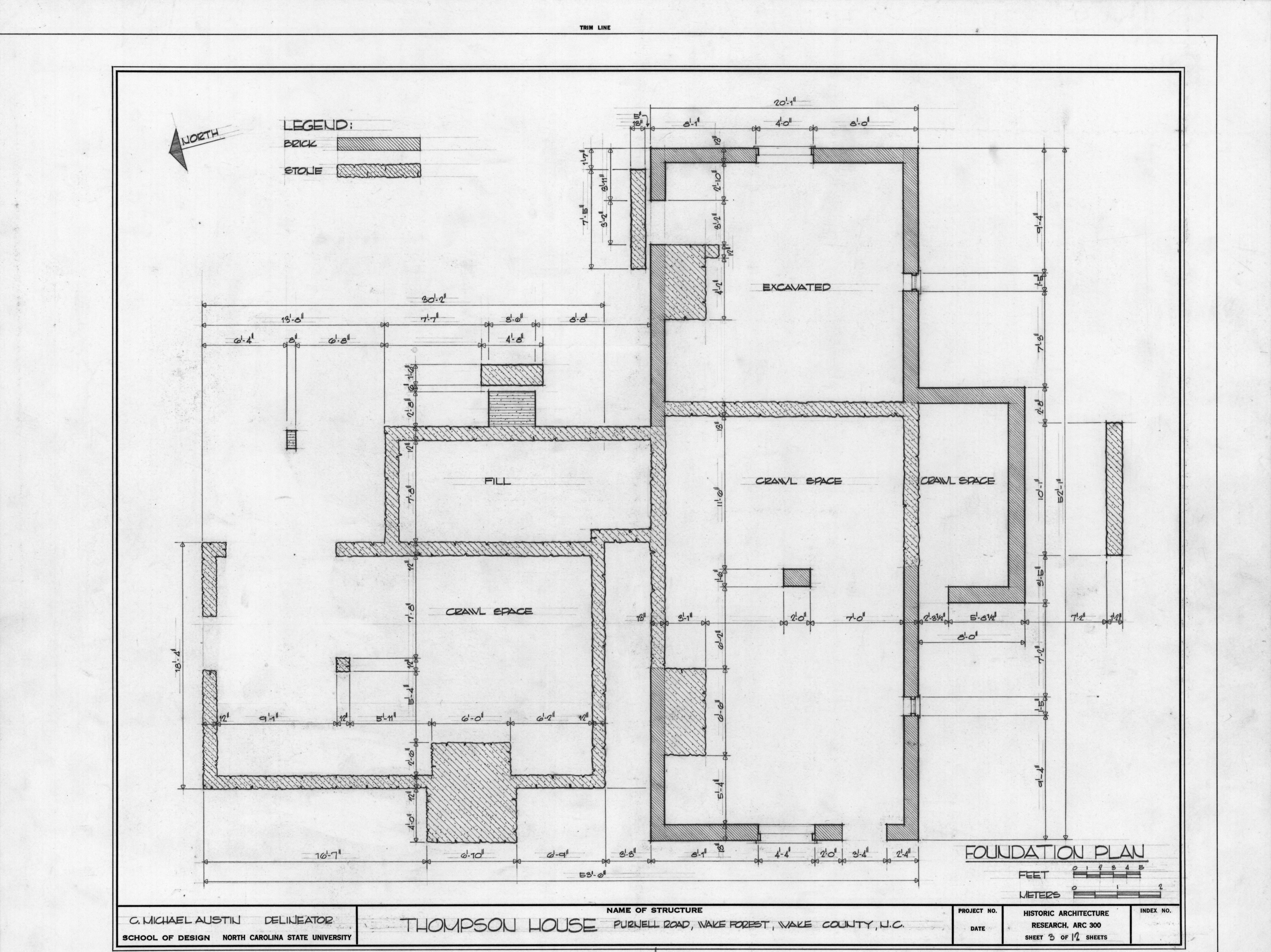 Foundation plan william thompson house wake county for Thompson house plans