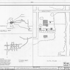 Location map and site plan, Captain Lewis Meredith House, Murfreesboro, North Carolina