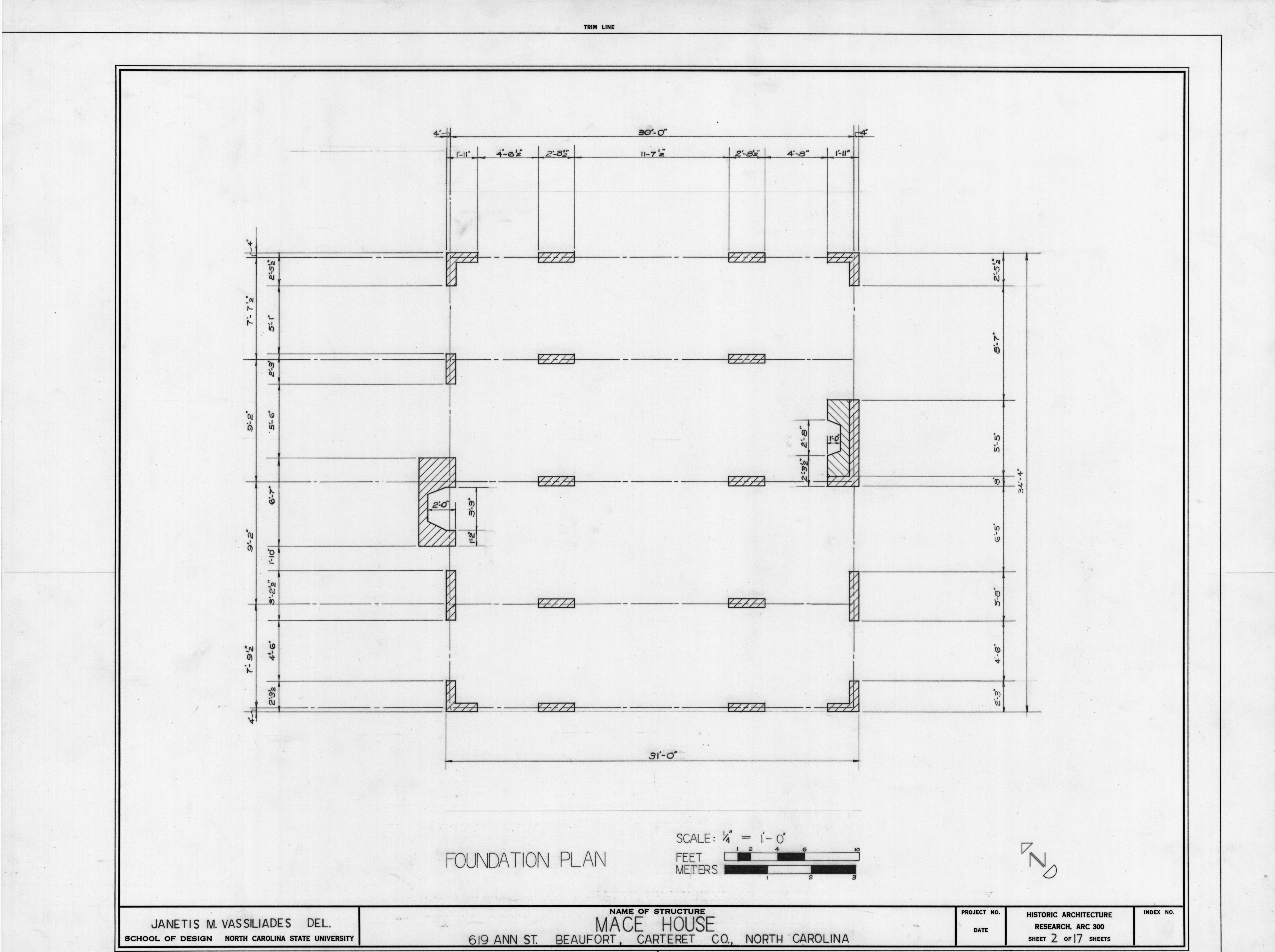 Foundation Plan Mace House Beaufort North Carolina