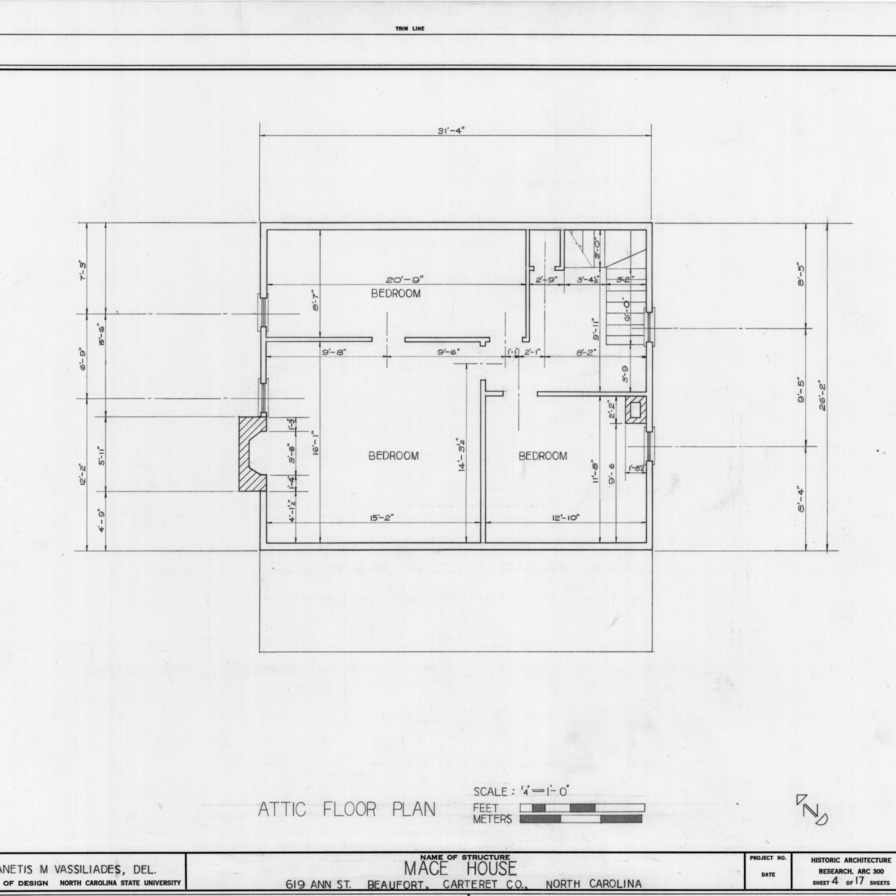 Attic plan, Mace House, Beaufort, North Carolina