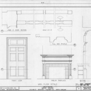 Door and fireplace details, Mace House, Beaufort, North Carolina