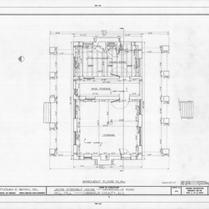 Basement floor plan, Mill Hill, Cabarrus County, North Carolina