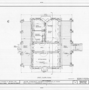 First floor plan, Mill Hill, Cabarrus County, North Carolina