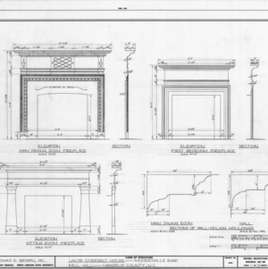 Fireplace and trim details, Mill Hill, Cabarrus County, North Carolina