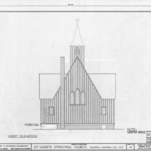 West elevation, St. Mark's Episcopal Church, Halifax, North Carolina