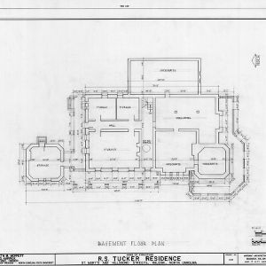 Basement plan, R. S. Tucker House, Raleigh, North Carolina