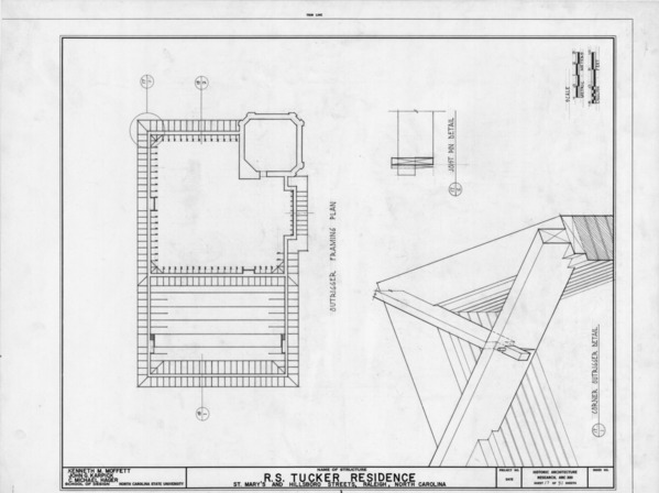 Outrigger framing plan and details, R. S. Tucker House, Raleigh ...
