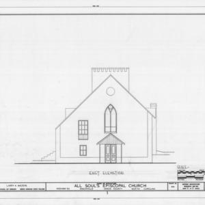 East elevation, All Souls Episcopal Church, Ansonville, North Carolina