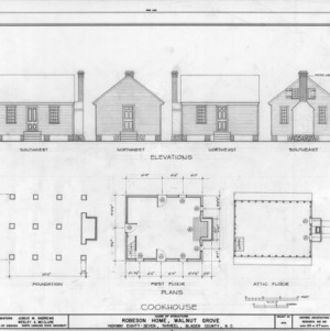 Kitchen elevations and plans, Walnut Grove, Bladen County, North Carolina