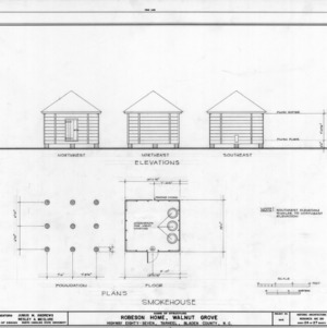 Smokehouse elevations and plans, Walnut Grove, Bladen County, North Carolina