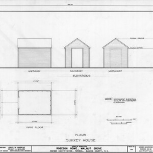 Carriage house elevations and plan, Walnut Grove, Bladen County, North Carolina