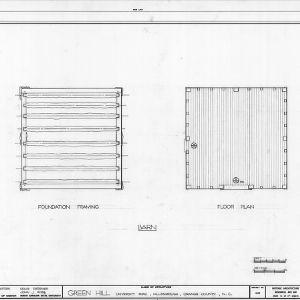Barn framing and floor plans, Green Hill, Hillsborough, North Carolina