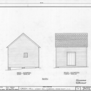 West and south elevations of barn, Green Hill, Hillsborough, North Carolina