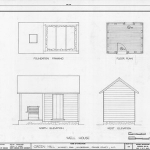 Well house plans and elevations, Green Hill, Hillsborough, North Carolina