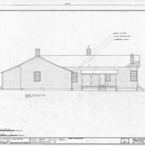 Rear elevation, Isom Henry Collins Farm, Holleman's Crossroads, Wake County, North Carolina