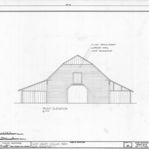Front elevation of barn, Isom Henry Collins Farm, Holleman's Crossroads, Wake County, North Carolina