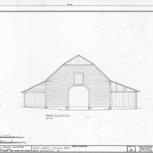 Rear elevation of barn, Isom Henry Collins Farm, Holleman's Crossroads, Wake County, North Carolina