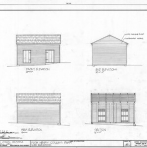 Shed elevations, Isom Henry Collins Farm, Holleman's Crossroads, Wake County, North Carolina