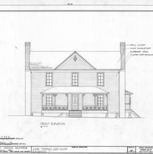 Front elevation, John Thomas Judd House, Holleman's Crossroads, Wake County, North Carolina