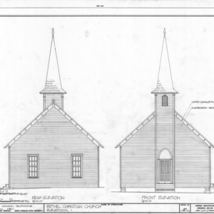 Rear and front elevations, Bethel Christian Church, Holleman's Crossroads, Wake County, North Carolina