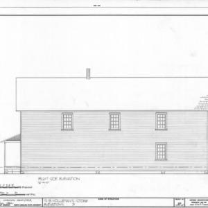Side elevation, Samuel Holleman's Store, Holleman's Crossroads, Wake County, North Carolina