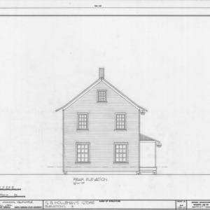 Rear elevation, Samuel Holleman's Store, Holleman's Crossroads, Wake County, North Carolina
