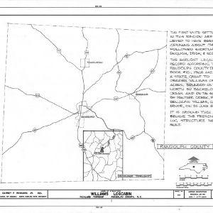Location map with notes, Williams-Bryant Log House, Randolph County, North Carolina