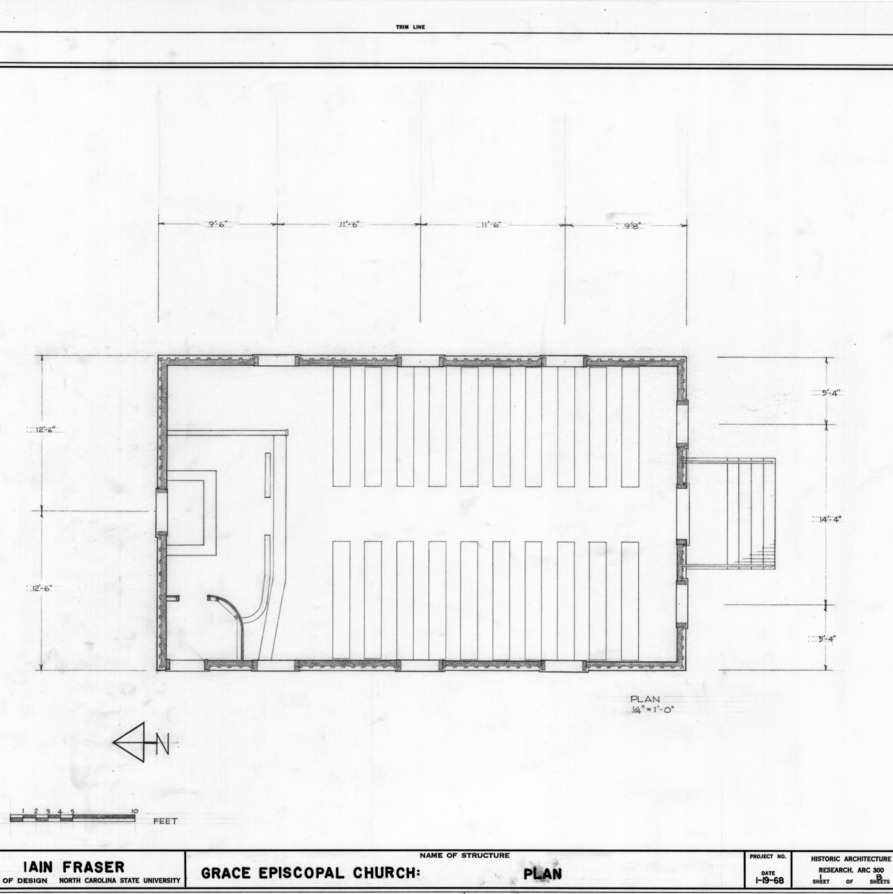 Floor plan, Grace Episcopal Church, Trenton, North Carolina
