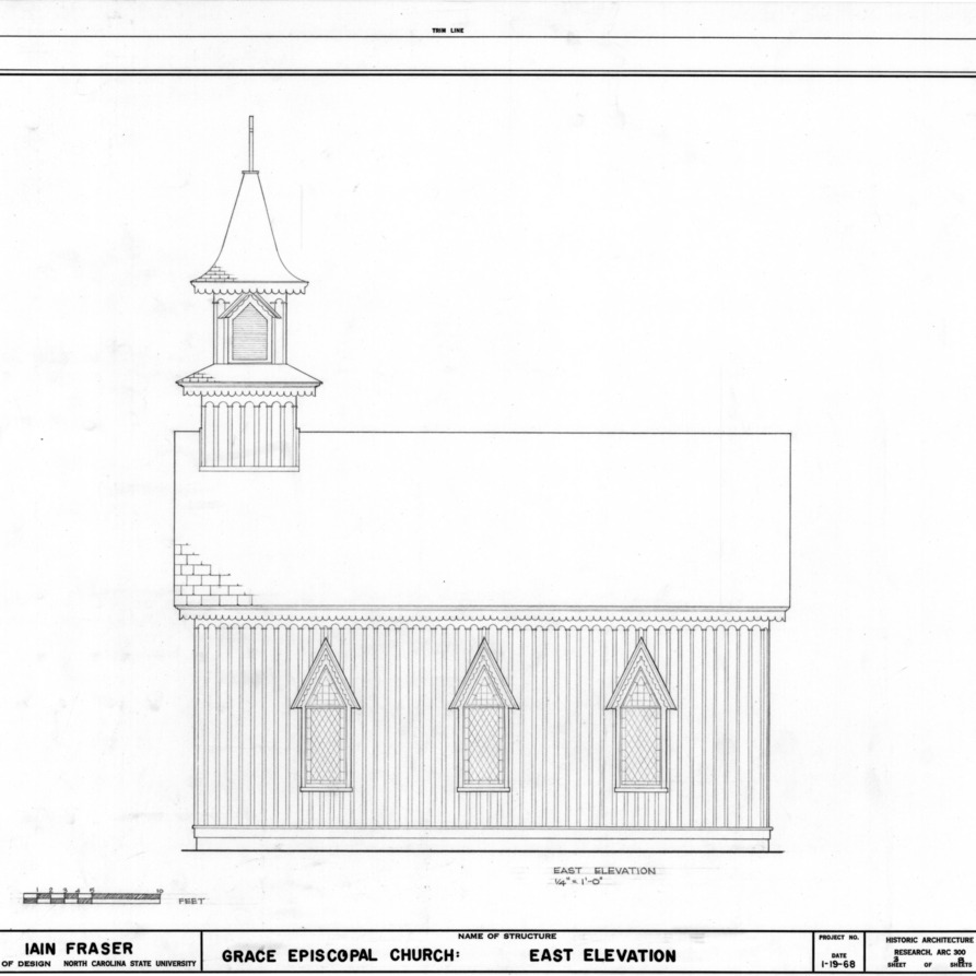 East elevation, Grace Episcopal Church, Trenton, North Carolina
