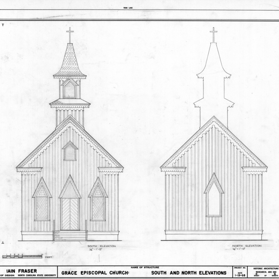 South and north elevations, Grace Episcopal Church, Trenton, North Carolina