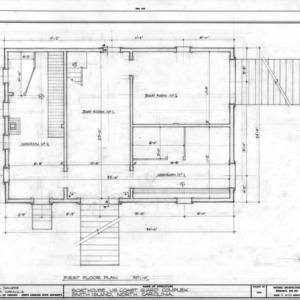NCSU Libraries     Rare and Unique Digital Collections Search Results    First floor plan of boathouse  Cape Fear Lifesaving Station  Brunswick County  North Carolina