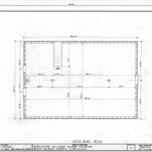Attic plan of boathouse, Cape Fear Lifesaving Station, Brunswick County, North Carolina