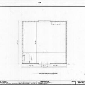 Attic plan of kitchen, Cape Fear Lifesaving Station, Brunswick County, North Carolina