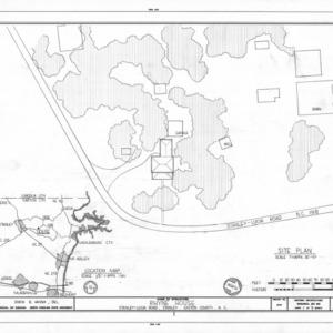 Site plan and location map, Thomas Rhyne House, Gaston County, North Carolina