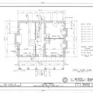First floor plan, Thomas Rhyne House, Gaston County, North Carolina